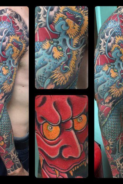 Japanese Dragon / hannya mask full sleeve #JapaneseTattoo #MarkThompson #DallasTattooArtist #DallasTattooShop #FullSleeve #HannyaMask#japanesetattoo