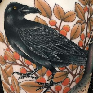 Tattoo by Fabingg #Fabinng #falltattoos #falltattoo #fall #season #nature #weather #cranberries #cranberry #raven #wings #feathers #animal #berry #plant