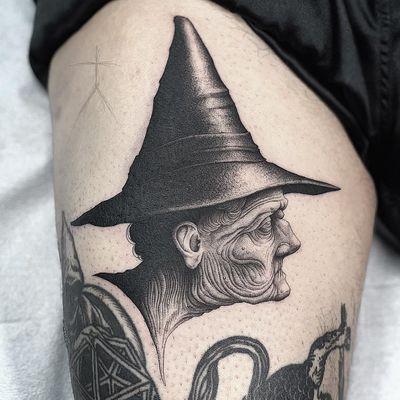 Tattoo by Christopher Jade #ChristopherJade #falltattoos #falltattoo #fall #season #nature #weather #blackwork #linework #dotwork #witch #portrait #illustrative