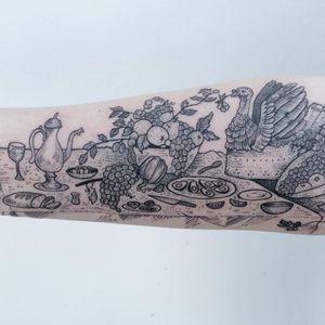 Tattoo by Pony Reinhardt #PonyReinhardt #falltattoos #falltattoo #fall #season #nature #weather #foodtattoo #Thanksgiving #turkey #pumpkin #feast #avocados #grapes #fruit #illustrative #blackwork