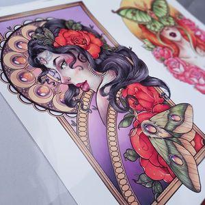 Lady head print I created. #moth #alphonsemucha #rose #mandalatattoo #mandala #ladyhead #gems #ladyface #lady #ladytattooers #torontotattoo #toronto #artnouveuatattoos #Artnouveau #vintage #art #prints #neotrad #neotraditionaltattoos #neotraditional #newschooltattoo #butterfly