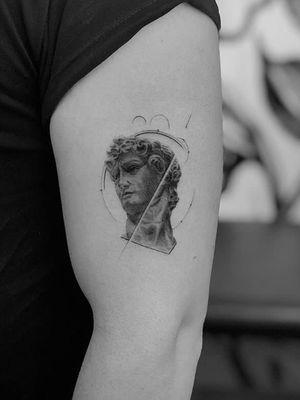 David #geometrictattoo #mythology #blackandgrey #linework