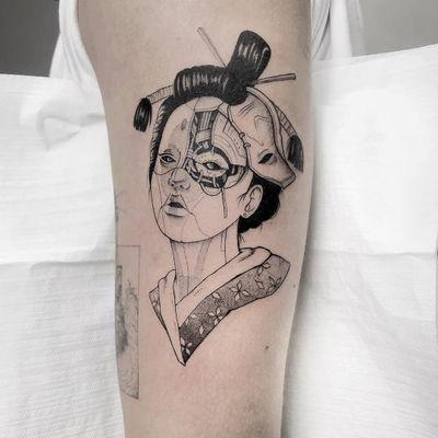 Tattoo by Marcel Meira #MarcelMeira #SciFitattoos #scifi #sciencefiction #blackwork #illustrative #linework #dotwork #ghostintheshell #robot #cyborg #geisha #japanese