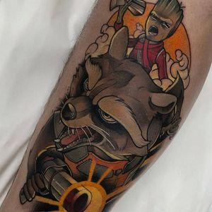 Tattoo by Yeray Perez #YerayPerez #SciFitattoos #scifi #sciencefiction #neotraditional #color #guardiansofthegalaxy #rocket #Groot #film #movie