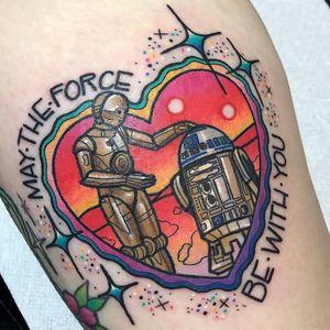 Tattoo by Kelly McGrath #KellyMcGrath #SciFitattoos #scifi #sciencefiction #StarWars #C3PO #R2D2 #newschool #illustrative #maytheforcebewithyou #sparkle #color #heart #robot #cyborg