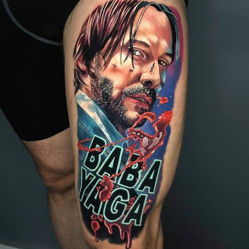 2 days back to back on this #JohnWick  #realistic #realistictattoo #colourtattoo