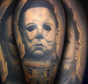 Healed photo of #michaelmeyers on the homie @robert5423 #ink #inked #losangeles #artist #horror #color #diverse #dowhatyoulove thanks for looking #juliustattooer