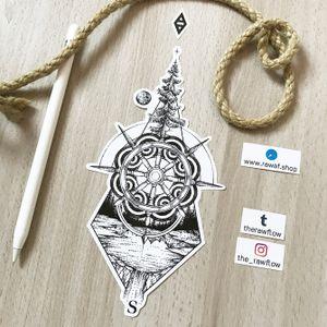 Dotwork shipwheel and nature design. More: www.rawaf.shop #tattoo #dotwork #blackwork #nature #mandala #tree #travel #wanderlust #moon #geometric #black #blackandgrey