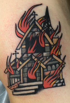 Cutomize burning church tattoo