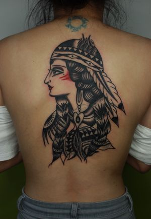 Back cover up girl face tattoo i did a while ago