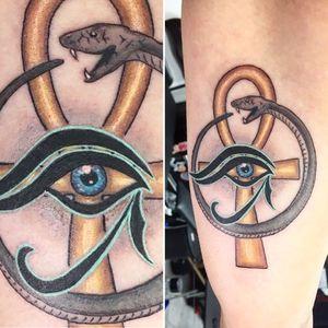 Ouroboros, ankh, eye of horus