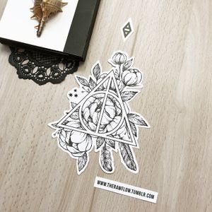 Harry Potter, Deathly Hallows, peonies. Part of my Harry Potter design collection, get dozends of HP designs in one pack: www.rawaf.shop/tattoo/collections #dotwork #blackwork #harrypotter #deathlyhallows #blackandgrey #geometric #flower #flowers #peony