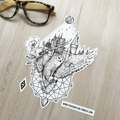 Harry Potter! Get the full collection with 68 HP related designs for the price of one big design. www.rawaf.shop/tattoo/collections #dotwork #owl #harrypotter #hogwarts #blackwork #geometric #flower #flowers #animal