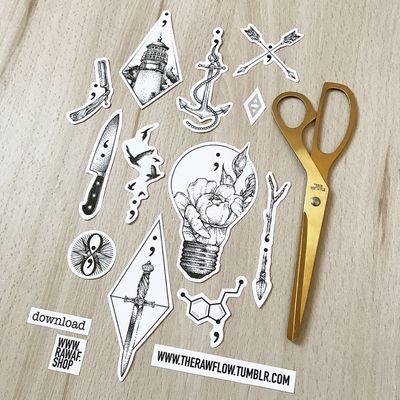 Dotwork semicolon tattoo ideas. Bunch of designs on one sheet. Downloads, commissions: www.rawaf.shop/tattoo #dotwork #blackwork #geometric #semicolon #compass #lightbulb #bird