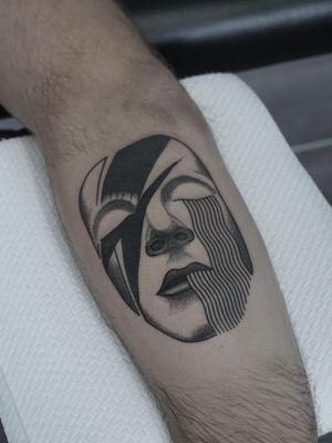 Tattoo by Nico Jacoby aka Nicobone #NicoJacoby #Nicobone #blackwork #linework #surreal #strange #graphicart #abstract #DavidBowie #Bowie #singer #music