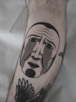 Tattoo by Nico Jacoby aka Nicobone #NicoJacoby #Nicobone #blackwork #linework #surreal #strange #graphicart #abstract #portrait #face #eyes