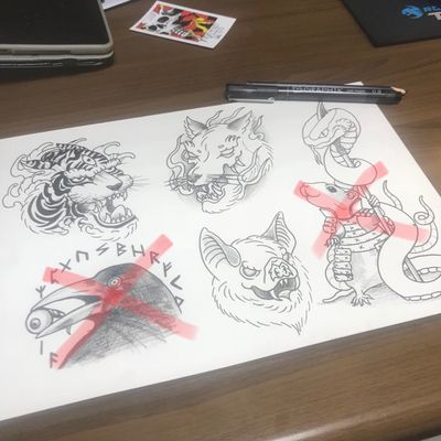 I still have 3 designs left on this sheet that are yet to find homes, help them out and send me a message i'll do them for great prices. #tattoos #uktattoo #tattooart #tiger #fox #battattoo #raven #rat #snake #drawing #tattoodesigns #available #heathenink #oldham #manchester #samurai #norse #animals #animaltattoo