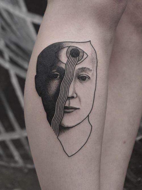 Tattoo by Nico Jacoby aka Nicobone #NicoJacoby #Nicobone #blackwork #linework #surreal #strange #graphicart #abstract #portrait #thirdeye