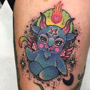 Tattoo by Roberto Euan #RobertoEuan #kawaiitattoos #kawaiitattoo #kawaii #cute #color #devil #demon #newschool #sparkle #moon #Baphomet #horns #goat #fire #heart #satan