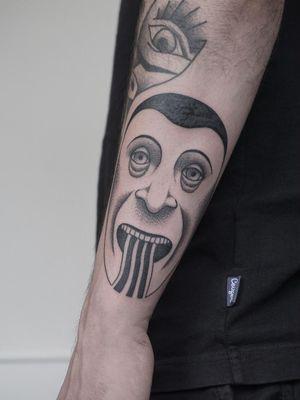 Tattoo by Nico Jacoby aka Nicobone #NicoJacoby #Nicobone #blackwork #linework #surreal #strange #graphicart #abstract #portrait #eyes