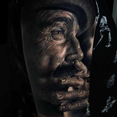 Tattoo by Fred Thomas #FredThomas #besttattoos #best #favorite #therewillbeblood #blackandgrey #realism #hyperrealism #danieldaylewis #portrait