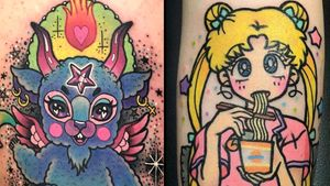 Tattoo on the left by Roberto Euan and tattoo on the right by Pikka #RobertoEuan #Pikkapimingchen #pikkacoolcool #kawaiitattoos #kawaiitattoo #kawaii #cute