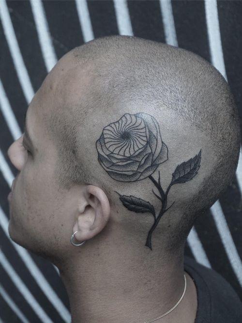 Tattoo by Nico Jacoby aka Nicobone #NicoJacoby #Nicobone #blackwork #linework #surreal #strange #graphicart #abstract #flower #floral #nature #plant #scalptattoo #headtattoo