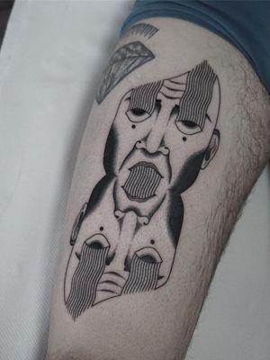 Tattoo by Nico Jacoby aka Nicobone #NicoJacoby #Nicobone #blackwork #linework #surreal #strange #graphicart #abstract #portrait