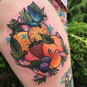 Tattoo by Kelly McGrath #KellyMcGrath #kawaiitattoos #kawaiitattoo #kawaii #cute #color #fruit #orange #strawberry #peach #gem #crystal #sparkle #newschool #food #foodtattoo