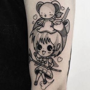 Tattoo by Ivan Lopez #IvanLopez #kawaiitattoos #kawaiitattoo #kawaii #cute #cardcaptorsakura #sakura #girl #witch #heart #bear #anime #manga