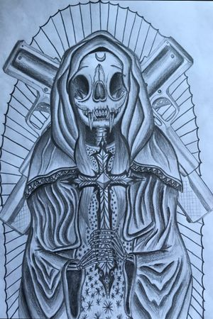 #catskull #virgin #catskulldesign #chicano #guns Future tattoo artist you can ask for my designs on my instagram @wlalien. Just DM me!