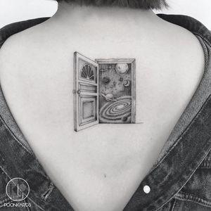 Tattoo by Karry Ka-Ying Poon #KarryKaYingPoon #portaltattoos #portaltattoo #portal #space #spacetravel #door #magic #galaxy #space #saturn #moon #stars #illustrative #blackandgrey