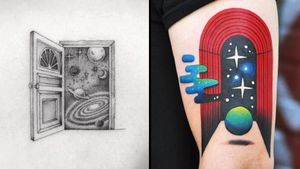 Tattoo on the left by Karry Ka-Ying Poon and tattoo on the right by David Cote #KarryKaYingPoon #DavidCote #portaltattoos #portaltattoo #portal #spacetravel #door #magic