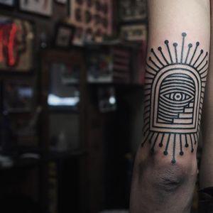 Tattoo by James Lau #JamesLau #portaltattoos #portaltattoo #portal #space #spacetravel #door #magic #linework #stairs #stairway #thirdeye #blackwork