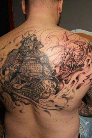 #blackandgray #samuraitattoo #beackman #armour #armortattoo #samuraiskull #ganeshtattoo #inprogresstattoo