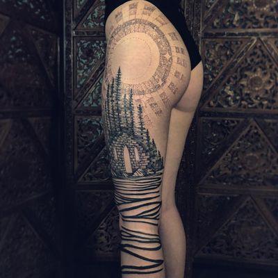 Tattoo by Noelle Longhaul #NoelleLonghaul #laughingloone #portaltattoos #portaltattoo #portal #space #spacetravel #door #magic #dotwork #illustrative #blackwork #forest #trees #moon #stars #landscape