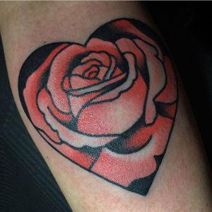 Fun walk-in tattoo! For appointments please e-mail me at: jpgleasonworks@gmail.com #tattoo #tattoos #rosetattoo #hearttattoo #sanfranciscotattooartist