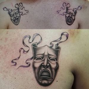 Mask black and gray tattoo