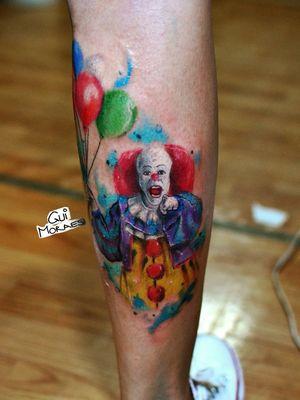 #pennywise #it #pennywisetattoo #watercolortattoo #stephenking #movietattoo #90stattoo #culttattoo #clown #clowntattoo #electricink #electricinkpen #wctattoos #palhaço #tattoodo #tattoodobr #tattoo2me #radtattoos