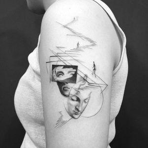 Tattoo by Jeon #Jeon #portraittattoos #portraittattoo #portrait #face #abstract #surreal #stairs #hand #eye #illustrative #blackandgrey