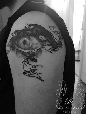 Eye surrealistic tattoo #tattoooftheday  #tattoo #tattooartist #tattoobucharest #tatuajebucuresti #thtattoo #blackandgreytattoo #Tattoodo  #salontatuajebucuresti  #salontatuaje www.tatuajbucuresti.ro