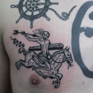 Esoteric sketelon tattoo by Valentin Tatau #Valentintatau #illustrative #woodblock #blockprint #esoteric #horse #skeleton #skull #arrow #darkart #blackwork