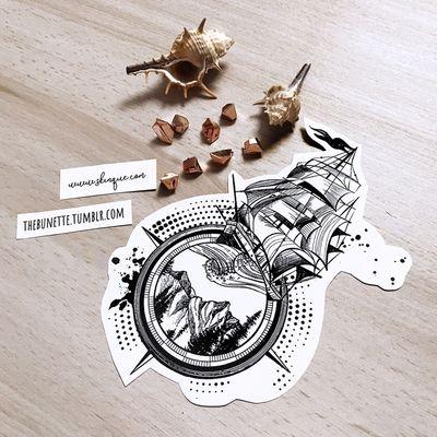 Wanderlust. More designs: www.skinque.com or follow me on Instagram for new designs! @thebunettedesigns #blackwork #black #blackandgrey #compass #ship #ocean #nature #geometric #abstract #mountains #trashpolka #sea #linework #sketch