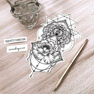 Mandala with a flower. More designs: www.skinque.com or follow me on Instagram for new designs! @thebunettedesigns #blackwork #black #blackandgrey #mandala #linework #flowers #nature #geometric #abstract #flower #trashpolka #jewellery