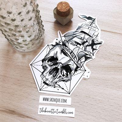 Ship with a skull. More designs: www.skinque.com or follow me on Instagram for new designs! @thebunettedesigns #blackwork #black #blackandgrey #skull #ship #sketch #linework #geometric #abstract #trashpolka