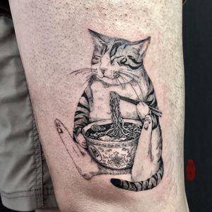 Tattoo by Sai Li aka saili_ink #SaiLi #sailiink #cattattoos #cattattoo #kittytattoo #kitty #cat #petportrait #animal #nature #ramen #food #pho #cute #illustrative #blackwork