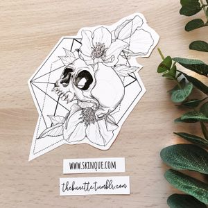 Delicate skull with flowers. More designs: www.skinque.com or follow me on Instagram for new designs! @thebunettedesigns #blackwork #black #blackandgrey #skull #flower #flowers #nature #geometric #abstract #delicate #elegant #beautiful