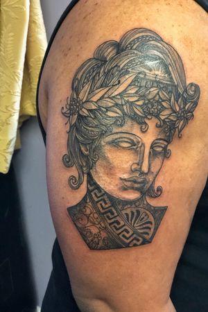 Greek goddess inspired blackwork ornamental