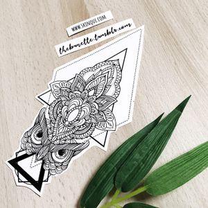 Owl with a mandala. More designs: www.skinque.com or follow me on Instagram for new designs! @thebunettedesigns #blackwork #black #blackandgrey #mandala #owl #animal #bird #geometric #abstract #linework #elegant #pretty #beautiful