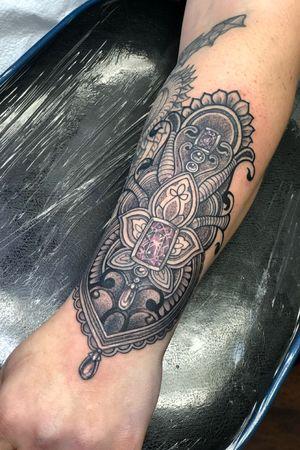 Ornamental wristlet jewel tattoo gem tattoo blackwork